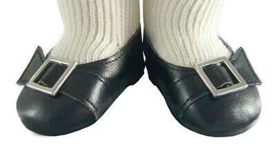 """Black COLONIAL Buckle SHOES made for 18"""" American Girl FELICITY Doll Clothes"""