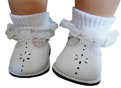White T-Strap Shoes & Lace Trim Socks made for Bitty Baby + Twins Doll Clothes