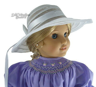 """White Mesh Hat Sun Bonnet made for 18"""" American Girl Doll Clothes DRESSY!"""