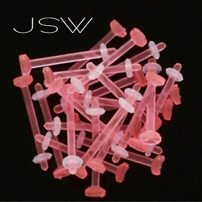 R#8 - 10ct Pink Flexible Tongue Retainers 14g 14 gauge 9/16""