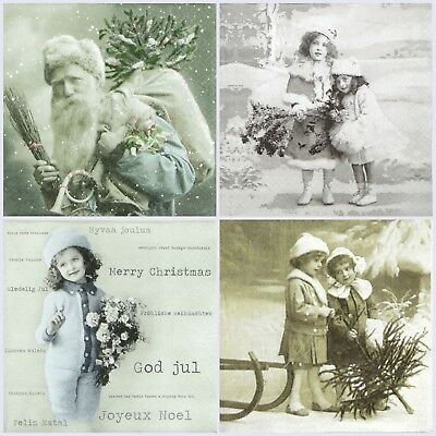 4x Single Table Party Paper Napkins for Decoupage Craft Vintage Christmas -Mix