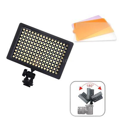 160 LED Video Light Lamp Panel Dimmable for Canon Nikon DSLR Camera Camcorder US