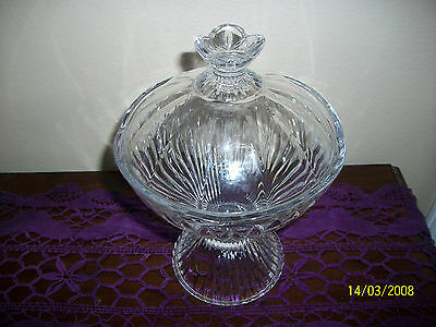 Footed Glass Lidded Bowl Compote Aderia Glass Made in Japan  Table Decor