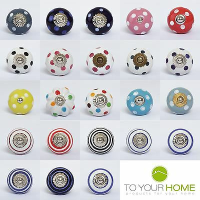 Dots & Stripes Ceramic Door Knobs Handles Furniture Drawer Pulls Cupboard