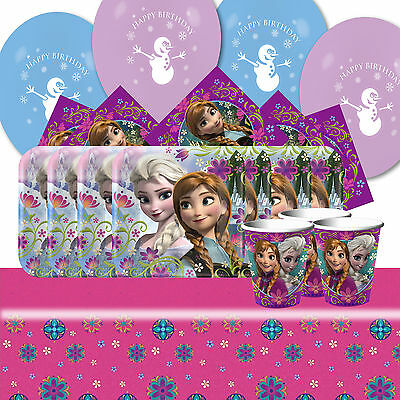 Disney Frozen Elsa Anna Happy Birthday Party Tableware balloon Pack Kit For 16