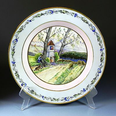"""12.25"""" Antique KPM Charger Hand Painted Rural Scene Shepherd Damsel in Tower"""