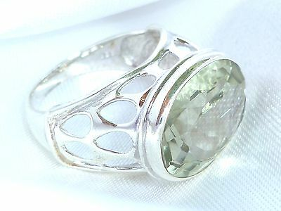 Prasiolith facettiert Ring 925  Sterling Silber Gr 18  Edelstein Ring