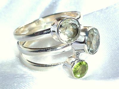 Prasiolith facettiert Ring 925  Sterling Silber Gr18  Edelstein Ring Peridot