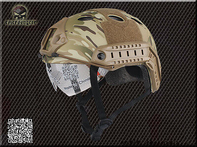 Military Airsoft Combat Helmet Emerson Tactical FAST Helmet with Goggle Multicam
