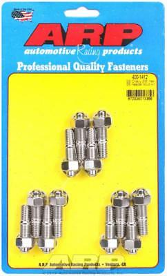 "ARP Header Studs Hex Nuts Stainless Steel Polished 3/8""-16 SBC Set of 12"