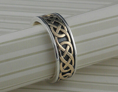 Sterling Silver & 10K Celtic Love Knot Wedding Ring KEITH JACK Various sizes