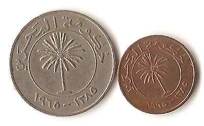 Two coins from Bahrain, 5 and 100 Fils, both dated 1965, Middle East