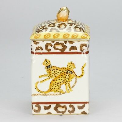 antique style Porcelain animal cheetah ornate decorative Covered Jar 17.5cm 7""