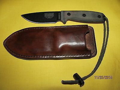 Hand Crafted Brown Leather Sheath Fits ESEE Model 3 Knife
