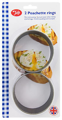 2 X Tala Large Non-Stick Poachette Egg, Yorkshire Puddings, Crumpet Rings , New