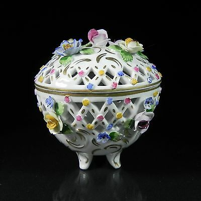 Sandizell Dresden Reticulated Covered Footed Round Box wApplied Florals Gilt Jar