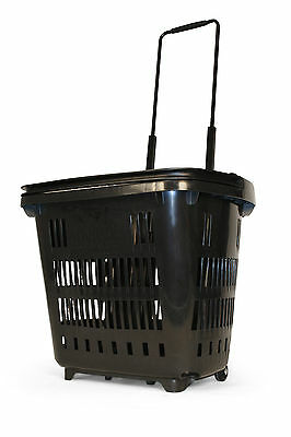 "5 x Plastic Shopping Trolley Basket (34L) Black Araven ""Shop & Roll"",Top Quality"