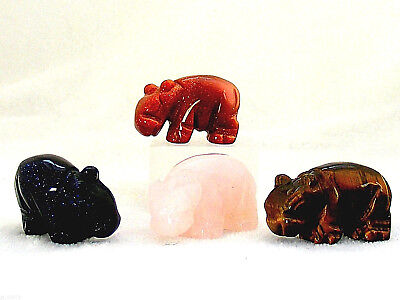 Gemstone Hippo Hand Carved Ornament Carving Rose Quartz Tigers Eye Goldstone