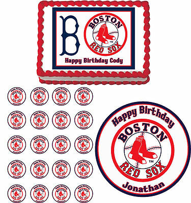 Boston Red Sox Edible Birthday Cake Cupcake Toppers Party Decorations