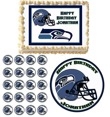 Seattle seahawks edible birthday cake cupcake topper party decoration