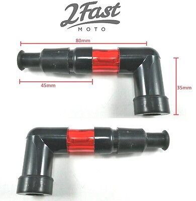 2FastMoto 2 Lighted 90 Degree Spark Plug Cap RED Like Neon PAIR Harley Davidson