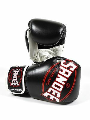 Sandee Cool-Tec Black Leather Boxing Gloves Kids Boxing Gloves