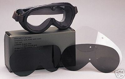 NEW Military Issue Sun Wind & Dust Goggles US GI USMC Army - CLEAR & GRAY LENSES