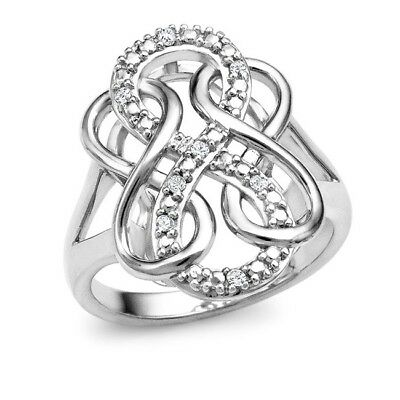 Diamond Accent Triple Infinity Ring in Sterling Silver