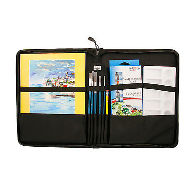 US Art Supply 23 Piece Watercolor Painting Set with Zippered Portfolio Case
