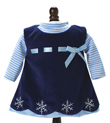 Winter Velvet Navy Jumper & Turtleneck Dress for Bitty Baby + Twins Doll Clothes