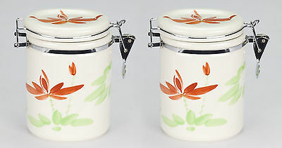 Set 2 NEW asian porcelain tea bag biscuit caddie canister jar container storage