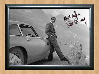 Sean Connery James Bond 007 Aston Martin Movie Signed Autographed A4 Print Photo
