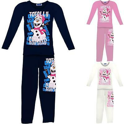 Girls Frozen Snowman Olaf Totally Chilled Children's Christmas Suit Pyjamas Set