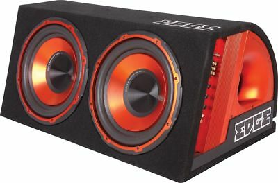 """Edge 12"""" Twin Active Bass Subwoofer Enclosure RMS 600W Amplifier Wiring Kit"""