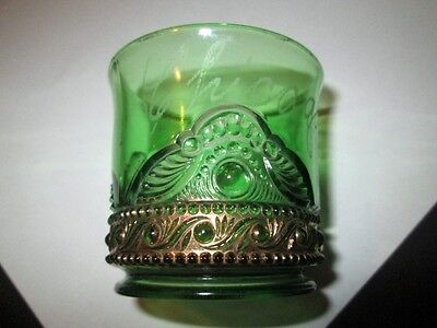 EAPG GREEN GLASS LACY MEDALLION TOOTHPICK HOLDER CHICAGO 1908 GOLD DECORATED