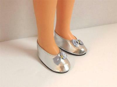 SILVER SHOES FIT P90 14 in Ideal Toni Doll 1 7/8 INCH X 7/8 INCH
