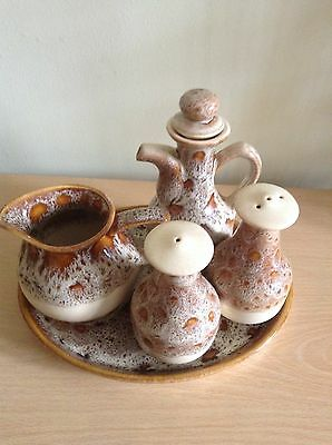 FOSTERS POTTERY CONDIMENT SET ON A TRAY