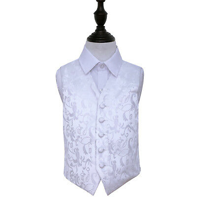 DQT Woven Floral White Page Boys Wedding Waistcoat 2-14 Years