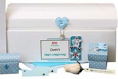 Boys PERSONALISED First Christmas /Merry Christmas CHEST Keepsake Box +/-Extras