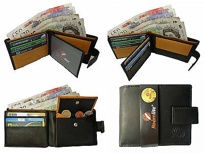 REAL Leather Mens Mans Wallet 6 Credit Card Coin Wallets Slots Roamlite RL362AW