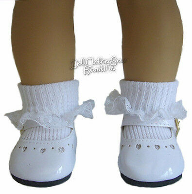 """White Patent Dress Shoes + Socks made for 18"""" American Girl Doll Clothes"""