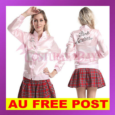 Grease Pink Ladies Satin Jacket Woman 50's Costume Fancy Dress Frenchie Rizzo