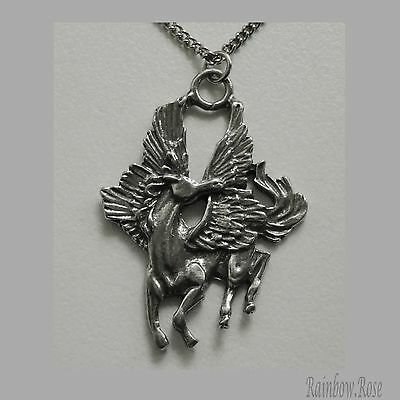 Pewter Necklace on Chain #305 Pegasus in flight