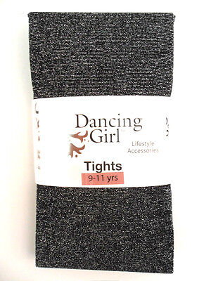 New Childs Childrens Girls Glitter Sparkly Party Black Tights Age 9 / 10 / 11