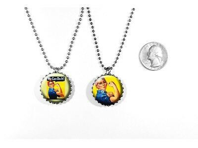 Rosie the Riveter American Icon WW2 Feminism 2 sided necklace