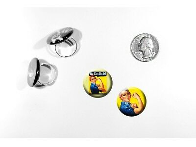 Rosie the Riveter American Icon WW2 Feminism set of 2 adjustable rings