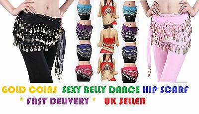 3 Rows Gold Coin Belly Dance Hip Scarf Wrap (Belt Dancer Skirt Costume)-Bly