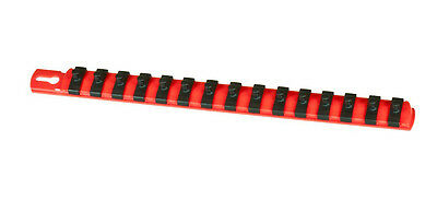 "ERNST 8415 13"" Long 3/8"" Dr. 14 Socket TWIST LOCK Organizer Rail -RED"