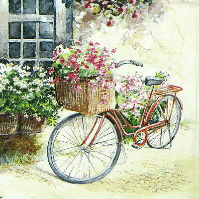 4x Single Lunch Party Paper Napkins for Decoupage Craft, Vintage Flower Bike