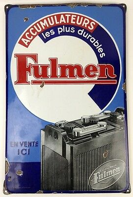 Vintage Antique Fulmen Accumulateurs Battery Tin Sign - FAST SHIP!
